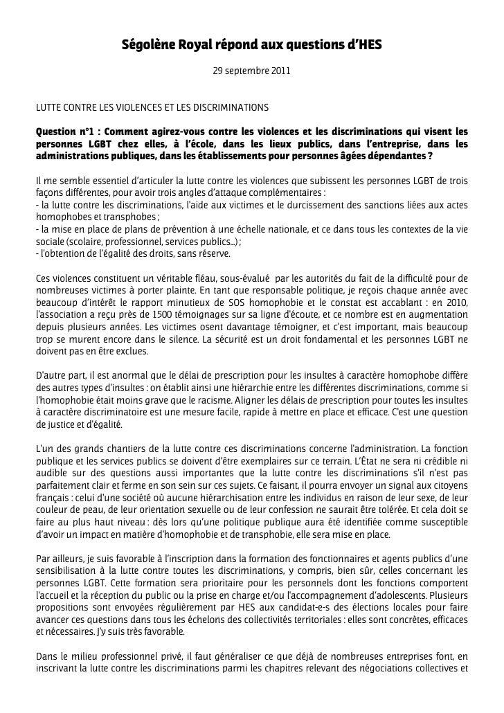 Ségolène Royal répond aux questions d'HES                                             29 septembre 2011LUTTE CONTRE LES VI...