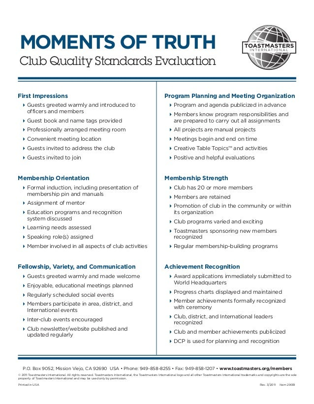 MOMENTS OF TRUTHClub Quality Standards EvaluationFirst Impressions                                                        ...