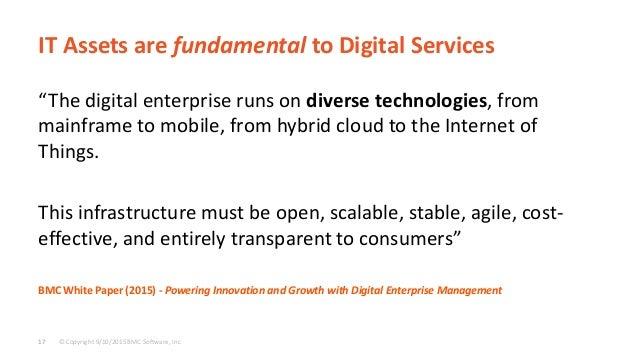 "© Copyright 9/10/2015 BMC Software, Inc17 IT Assets are fundamental to Digital Services ""The digital enterprise runs on di..."