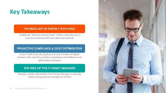 © Copyright 9/10/2015 BMC Software, Inc25 BMC San Jose Key Takeaways TECHNOLOGY IS RAPIDLY EVOLVING PROACTIVE COMPLIACE & ...