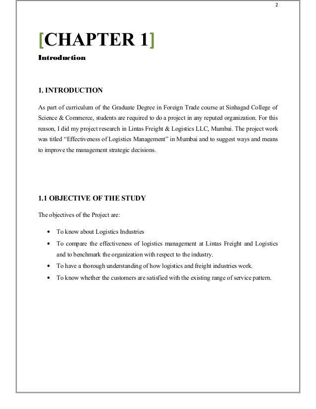 example of internship report in logistics