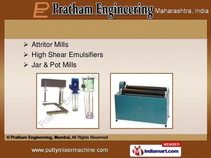  Attritor Mills High Shear Emulsifiers Jar & Pot Mills