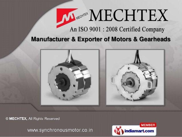 Manufacturer & Exporter of Motors & Gearheads