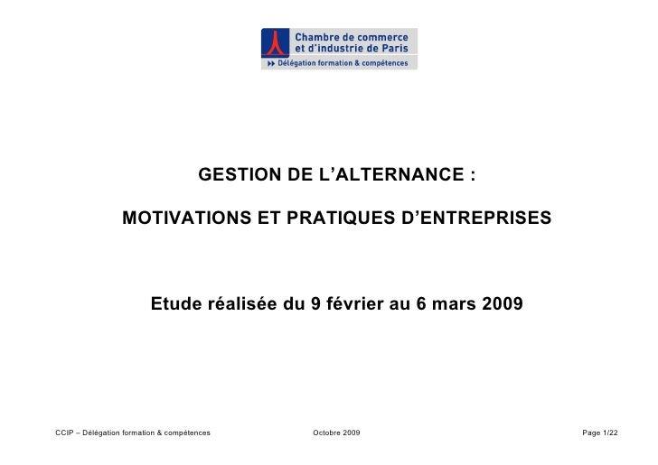 GESTION DE L'ALTERNANCE :                   MOTIVATIONS ET PRATIQUES D'ENTREPRISES                             Etude réali...
