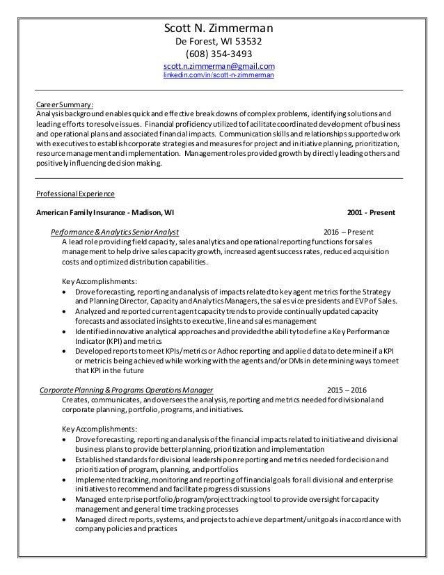 Scott Zimmerman Career Summary Resume 1 13 17