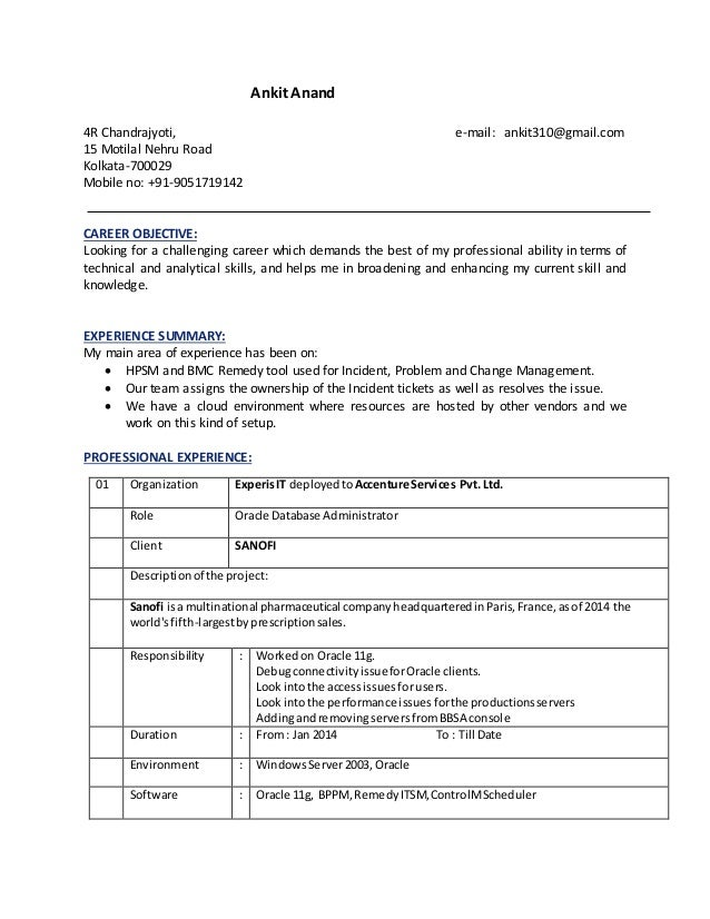 resume for oracle dba ankit anand 4r chandrajyoti e mail ankit310gmailcom 15 motilal