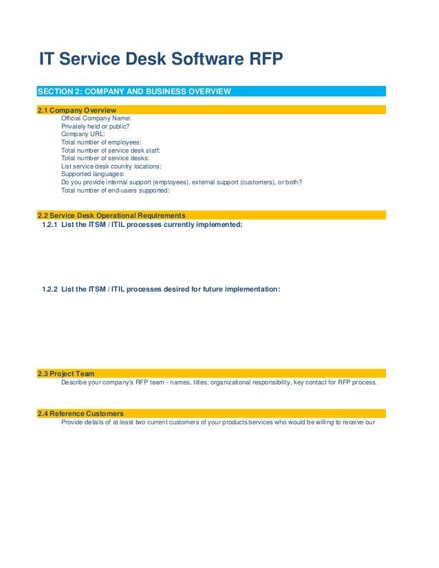 IT Service Desk Software RFP Template - Footprints help desk software