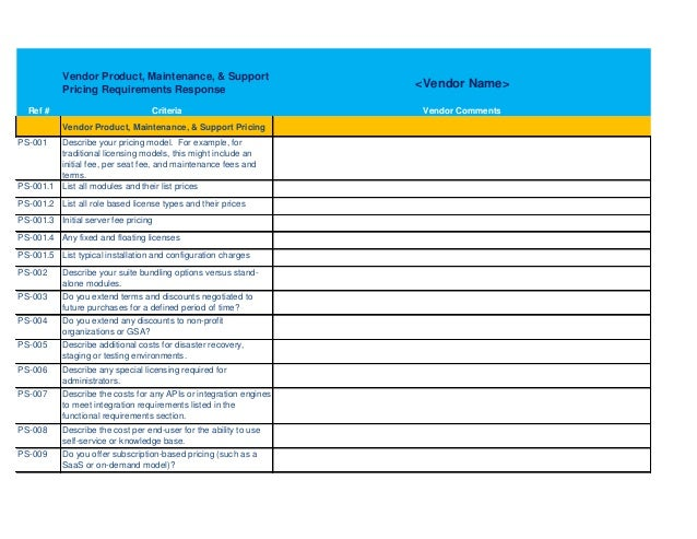 rfp template excel