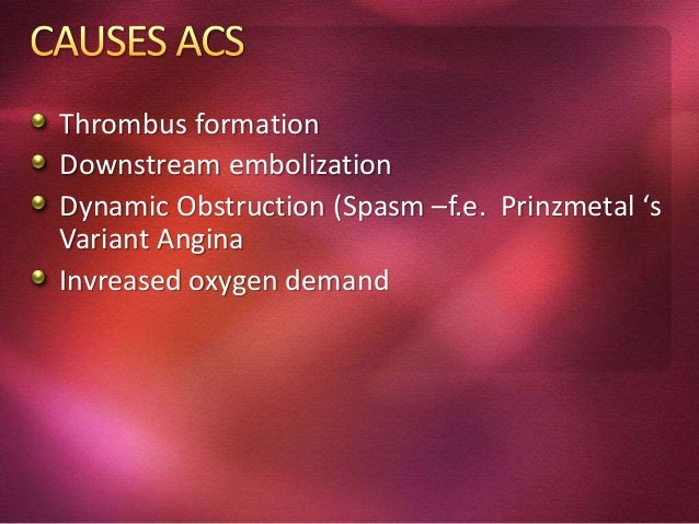 Dx of acute coronary syndrome is based on history, physical exam, ECG, cardiac enzymes Patients can then be divided into s...
