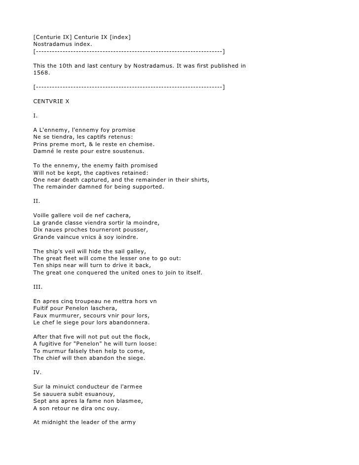[Centurie IX] Centurie IX [index] Nostradamus index. [--------------------------------------------------------------------...