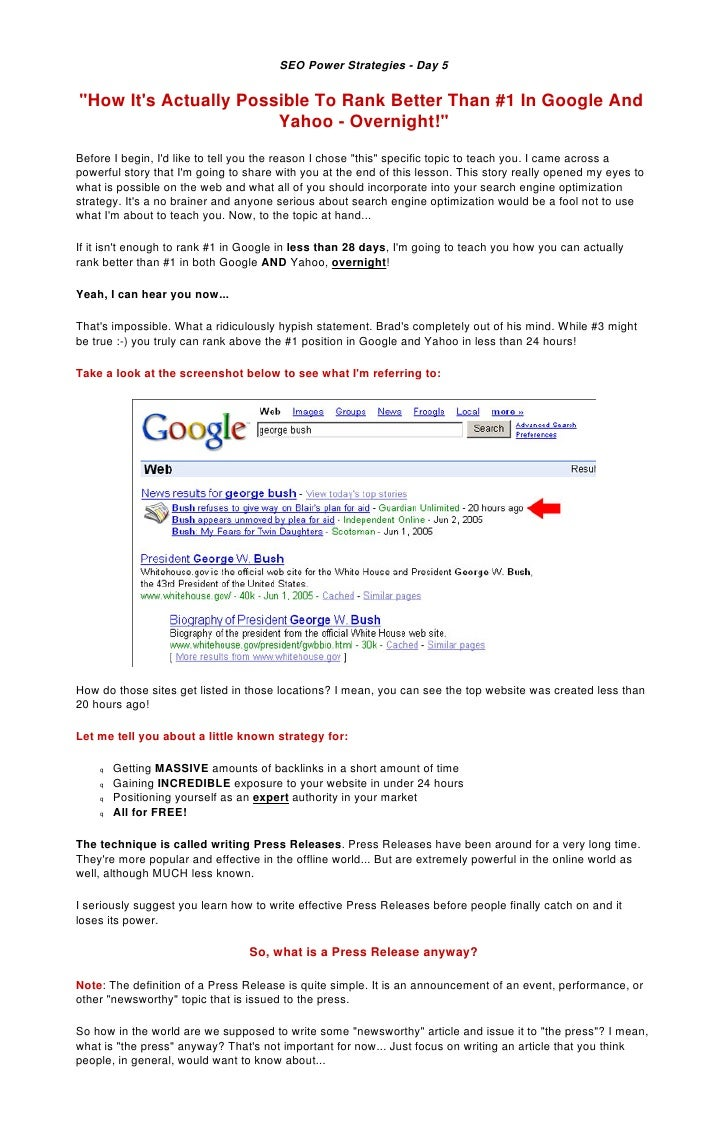 "SEO Power Strategies - Day 5   ""How It's Actually Possible To Rank Better Than #1 In Google And                        Yah..."
