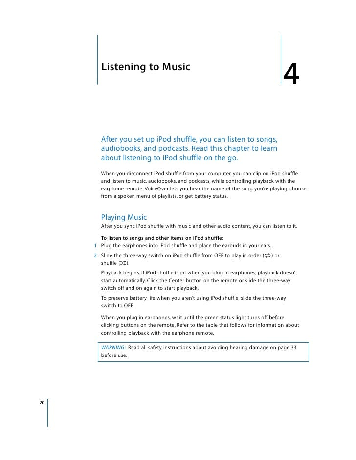 iPod Shuffle 3rd Gen User Guide