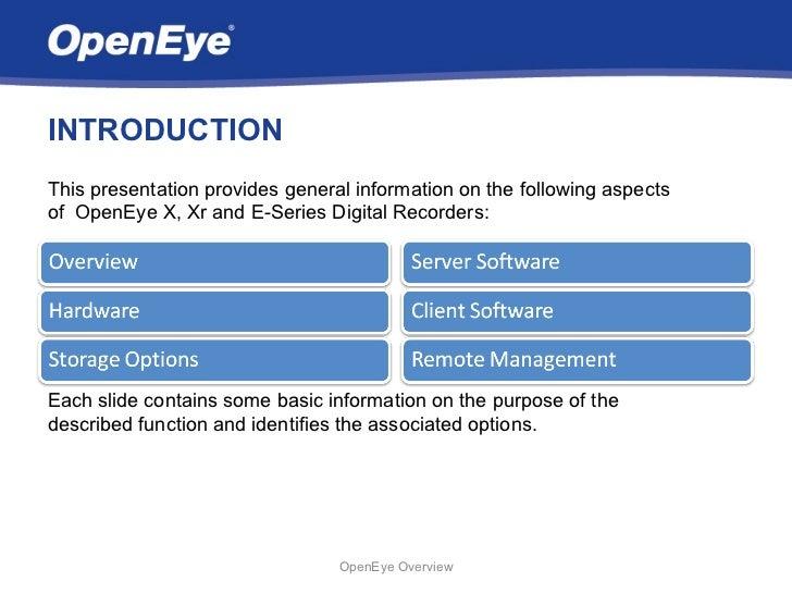 OpenEye Digital Video Recorder Overview Slide 2
