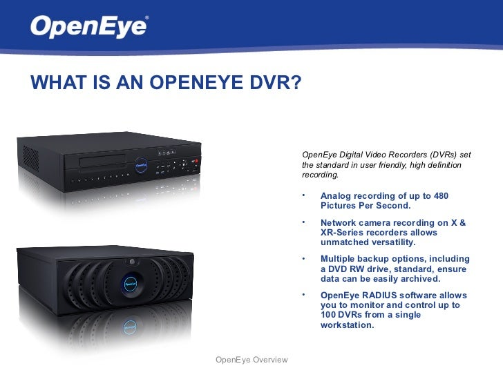 OpenEye Digital Video Recorder Overview Slide 3