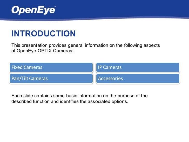 OpenEye Optix Camera Overview Slide 2