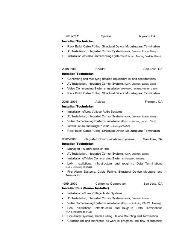 Telecommunications Cable Installer Resume. cable installer resume ...