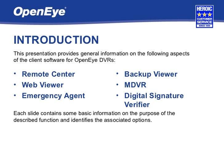 OpenEye Client Software Training Slide 2