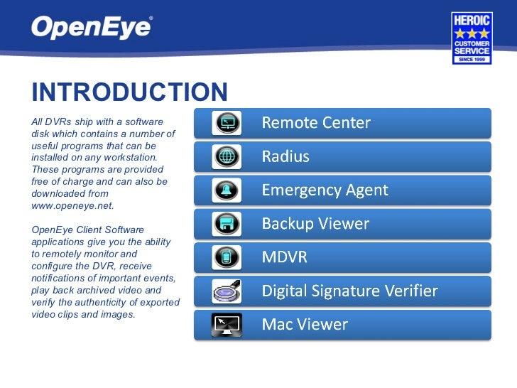 OpenEye Client Software Training Slide 3