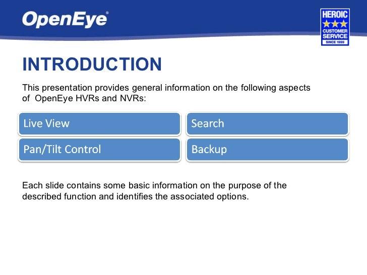 OpenEye User Training Slide 2