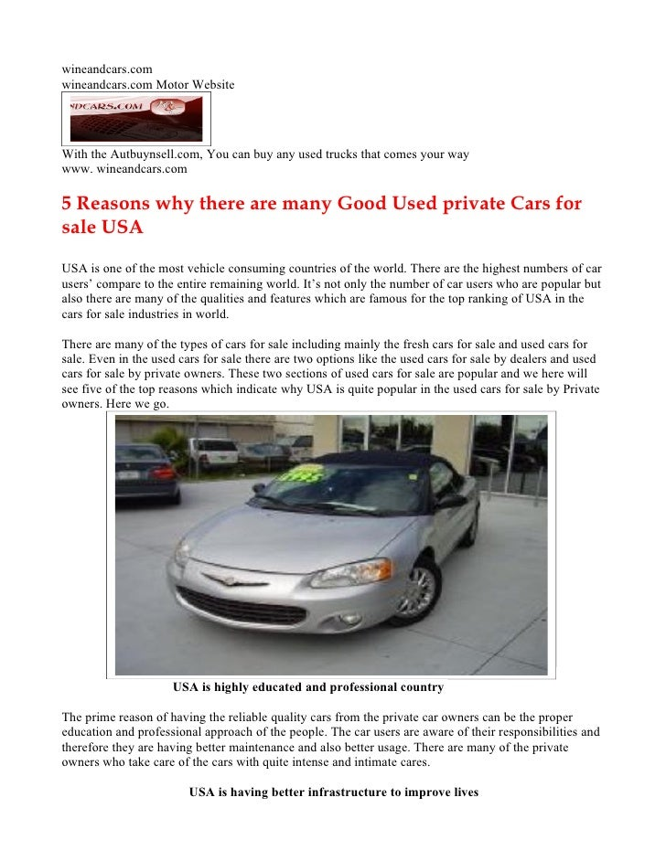 5 Reasons why there are many Good Used private Cars for sale USA