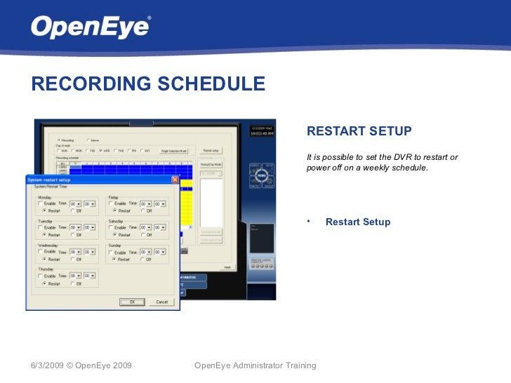 RECORDING SCHEDULE                                                     RESTART SETUP                                      ...