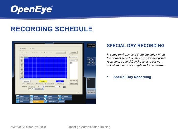 RECORDING SCHEDULE                                                     SPECIAL DAY RECORDING                              ...