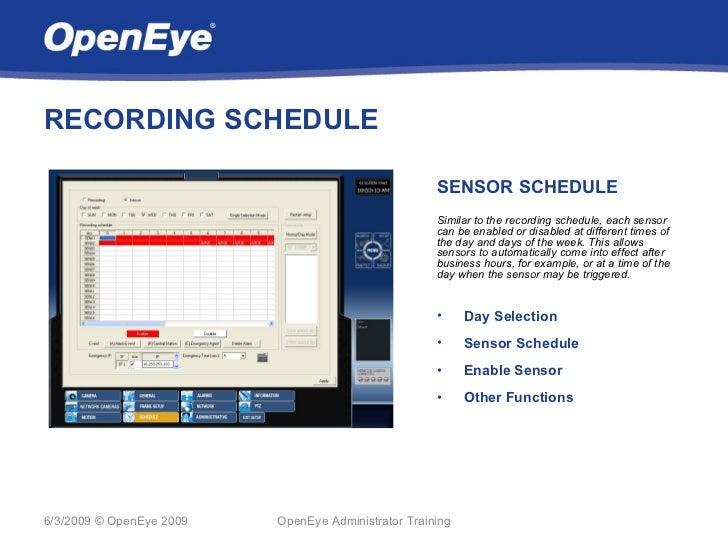 RECORDING SCHEDULE                                                     SENSOR SCHEDULE                                    ...