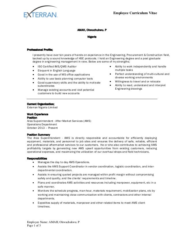 okwy amah exterran cv format revised by april 2015