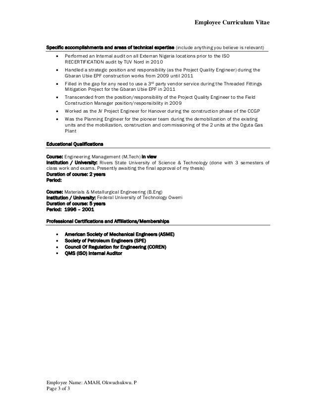Okwy Amah_Exterran CV format Revised by April 2015 Slide 3