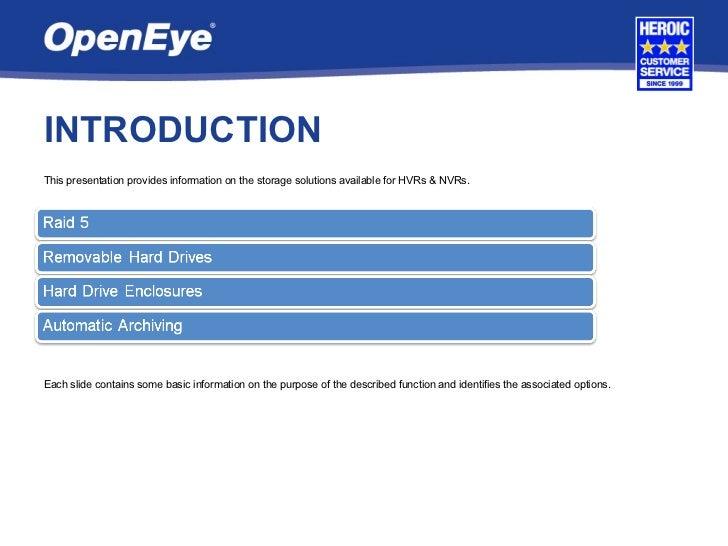 OpenEye Storage Solutions Slide 2