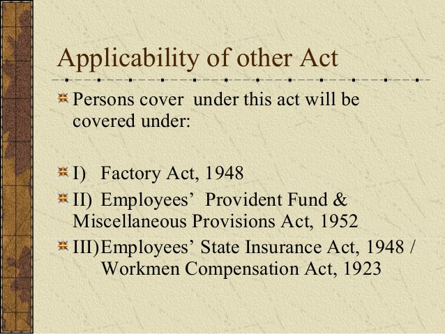 employee state insurance act 1948 Sec 2 (22) of the employees' state insurance act, 1948 defines the term 'wages' as all remuneration paid or payable in cash to an employee, if the terms of employment, express or implied, were fulfilled and includes any payment to an employee in respect of any period of authorized leave, lock out.