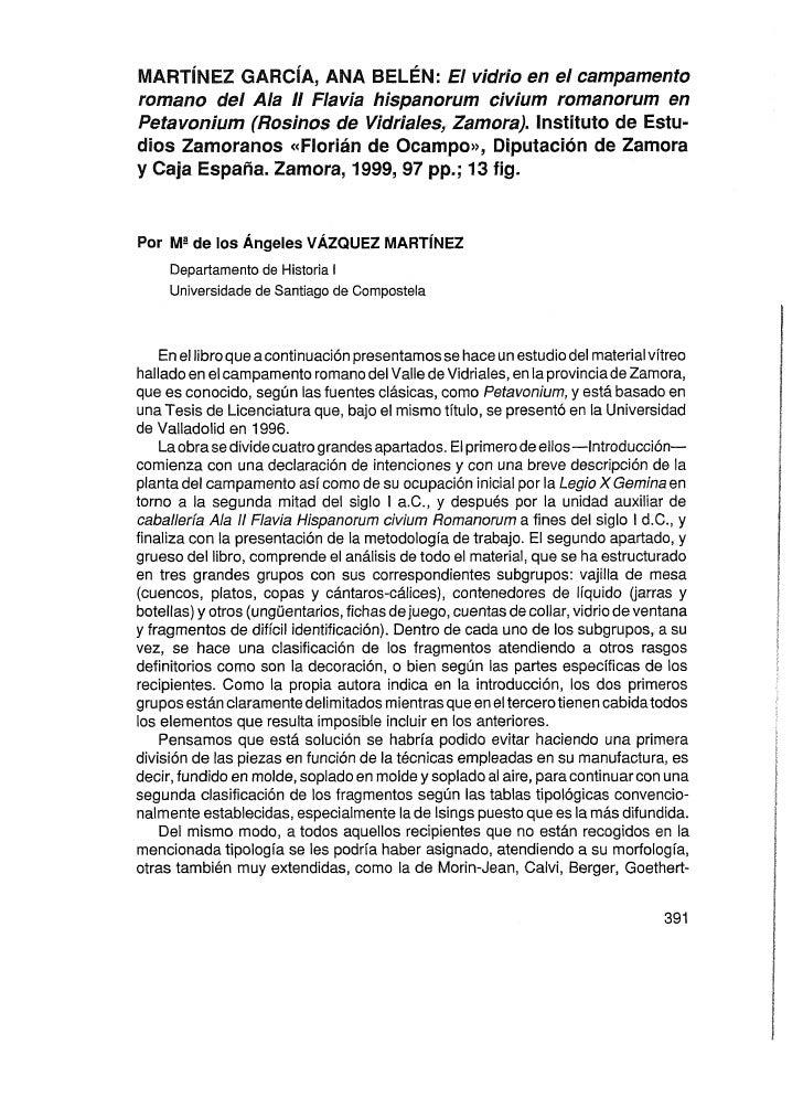 MART~NEZ   GARC~A,  ANA BELÉN: El vidrio en el campamento romano del Ala II Flavia hispanorum civium romanorom en Petavoni...