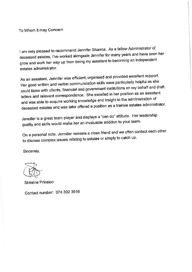 Reference letter - S Prinsloo