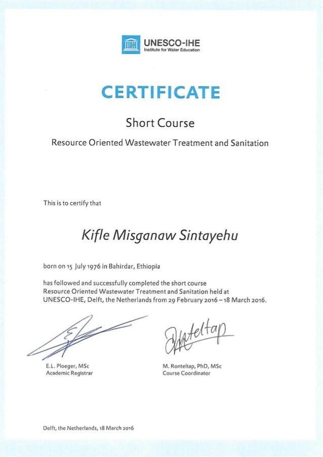 Unico Ihe Resource Oriented Waste Treatment And Sanitation Certificate