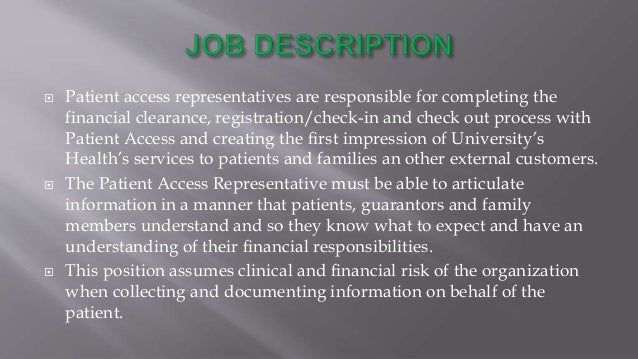 23 the patient access representative - Patient Access Job Description