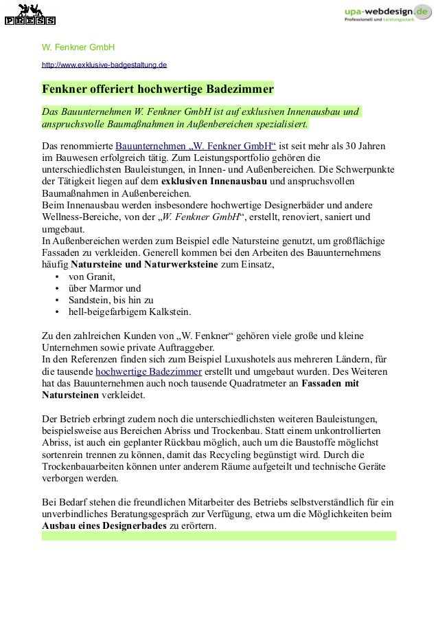 W. Fenkner GmbH http://www.exklusive-badgestaltung.de Fenkner offeriert hochwertige Badezimmer Das Bauunternehmen W. Fenkn...