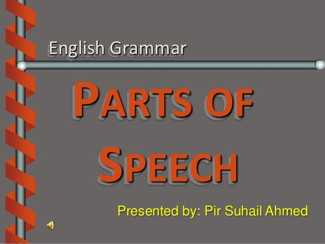 English Grammar  PARTS OF   SPEECH       Presented by: Pir Suhail Ahmed