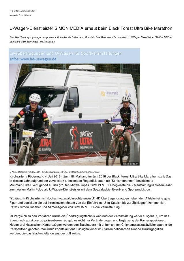 Typ: Unternehmensinformation Kategorie: Sport | Events Ü-Wagen-Dienstleister SIMON MEDIA erneut beim Black Forest Ultra Bi...
