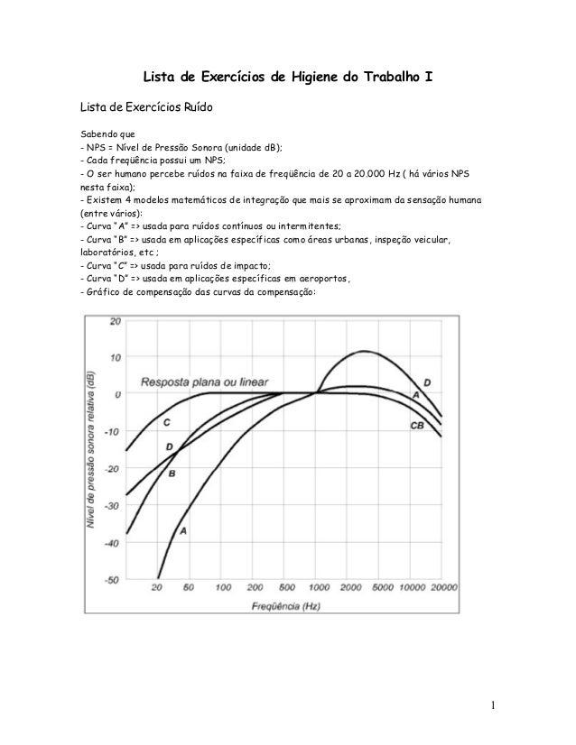 Lista de Exercícios de Higiene do Trabalho ILista de Exercícios RuídoSabendo que- NPS = Nível de Pressão Sonora (unidade d...
