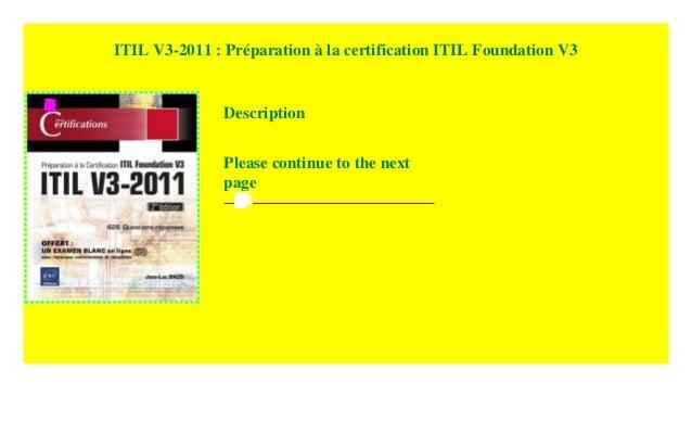 Itil V3 2011 Preparation A La Certification Itil Foundation V3 201