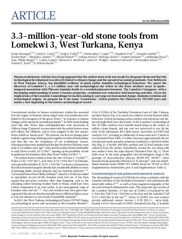 ARTICLE doi:10.1038/nature14464 3.3-million-year-old stone tools from Lomekwi 3, West Turkana, Kenya Sonia Harmand1,2,3 , ...