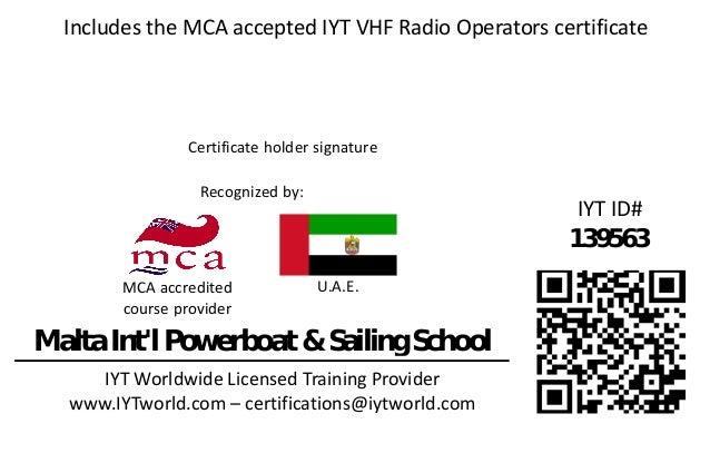 U.A.E. Recognized by: Certificate holder signature IYT Worldwide Licensed Training Provider www.IYTworld.com – certificati...