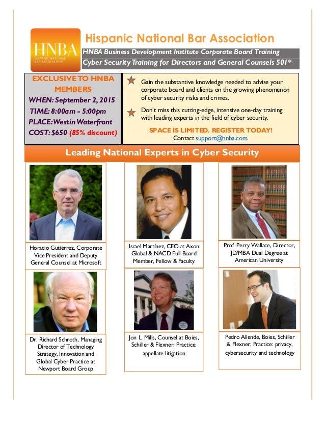 Hispanic National Bar Association HNBA Business Development Institute Corporate Board Training Cyber SecurityTraining for ...