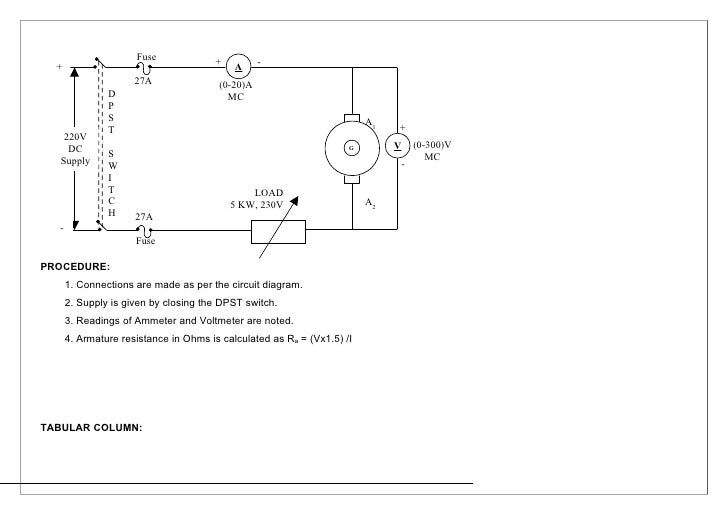 ee2259 lab manual on dc shunt motoraim to conduct load test on dc shunt motor and to efficiency apparatus required s no apparatus range type quantity 1 ammeter