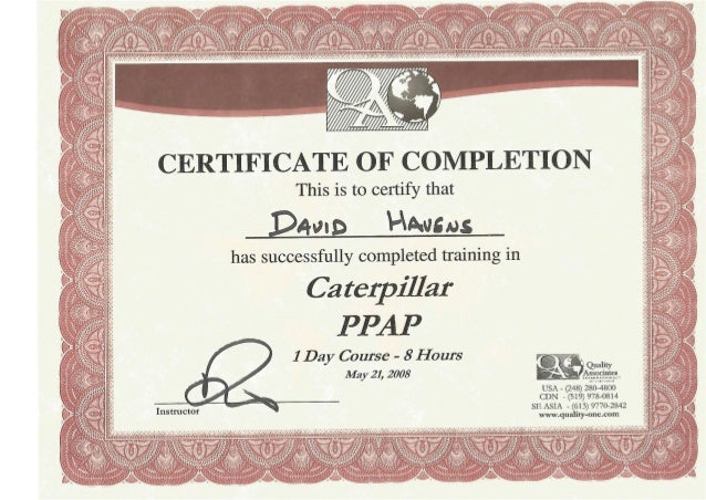 CAT PPAP certification