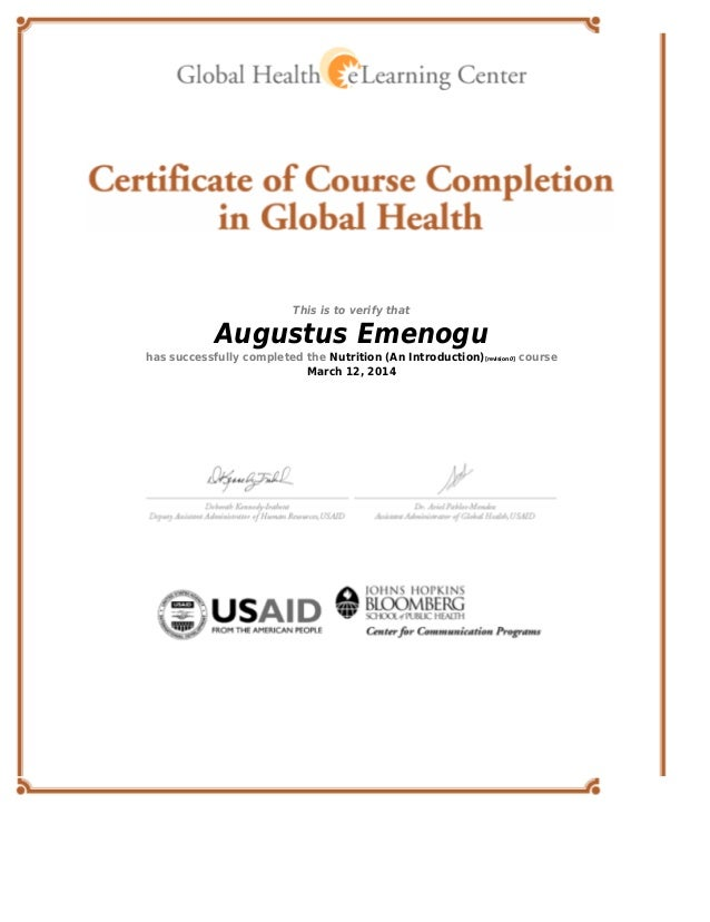 Usaid Nutrition Certificate