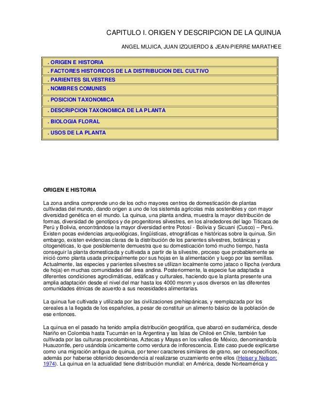 CAPITULO I. ORIGEN Y DESCRIPCION DE LA QUINUA                                 ANGEL MUJICA, JUAN IZQUIERDO & JEAN-PIERRE M...