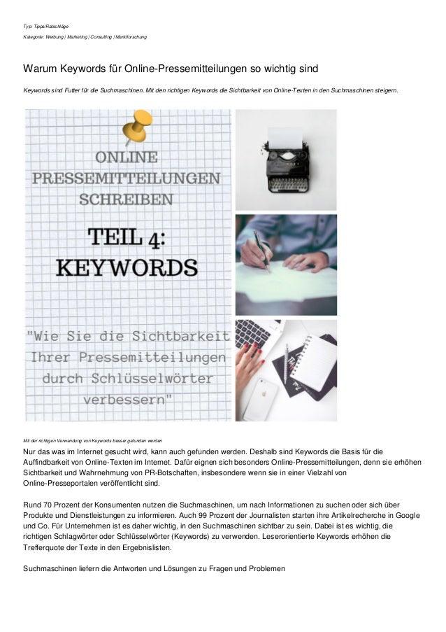 Typ: Tipps/Ratschläge Kategorie: Werbung | Marketing | Consulting | Marktforschung Warum Keywords für Online-Pressemitteil...