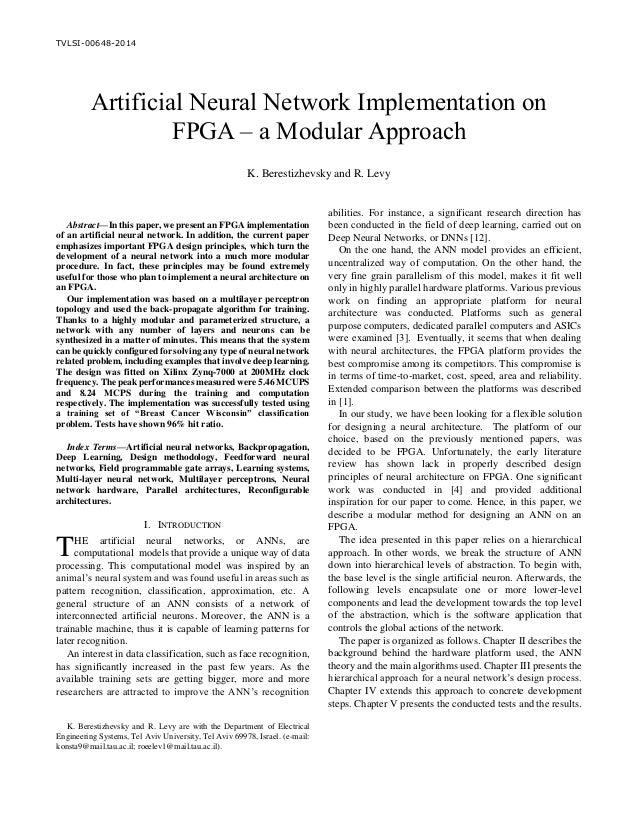 Artificial Neural Network Implementation on FPGA – a Modular Approach