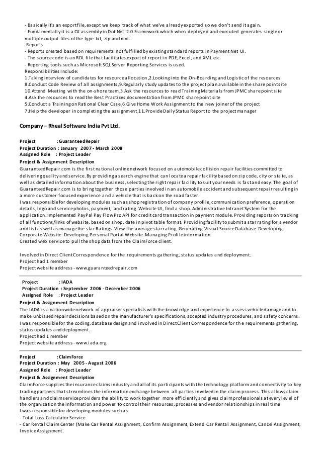 Web Developer Resume Asp Net Mbaresumepro Com Sample Resume Format  Experienced Candidates Resume Format For Freshers